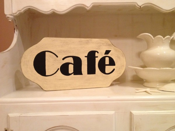 Cafe Sign Handpainted Wood In Custom Colors