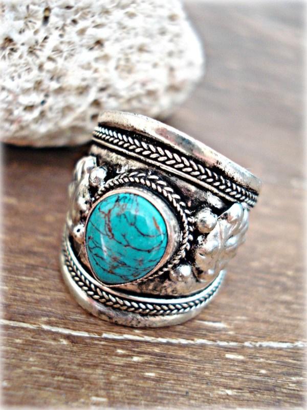 Boho Ring Jewelry Turquoise Nepal