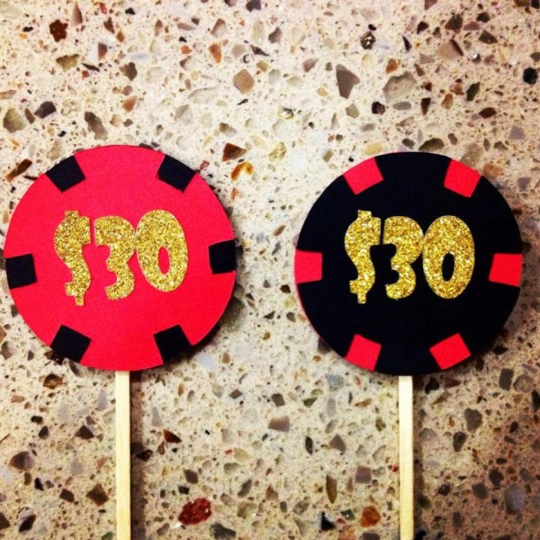 Casino Chip Cupcake Toppers Themed Party Las Vegas