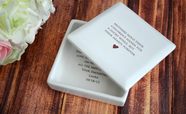 Unique Mother Of The Bride Gift Square Keepsake Box By