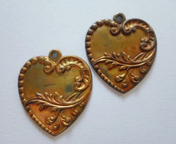 Vintage Oxdized Brass Art Deco Heart Charms