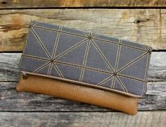 Classy Geometric Dark Gray Foldover Clutch / Kindle Case / Sleek and Stylish