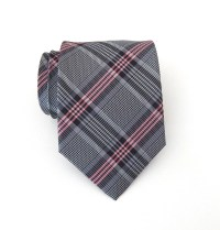 Necktie Gray and Pink Plaid Mens Tie
