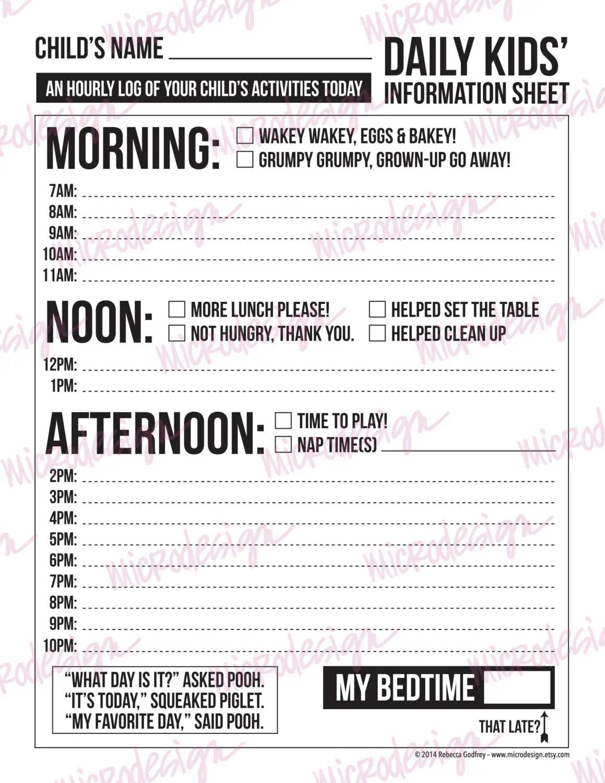 Daily Babysitting Or Nanny Report Printable Sheet