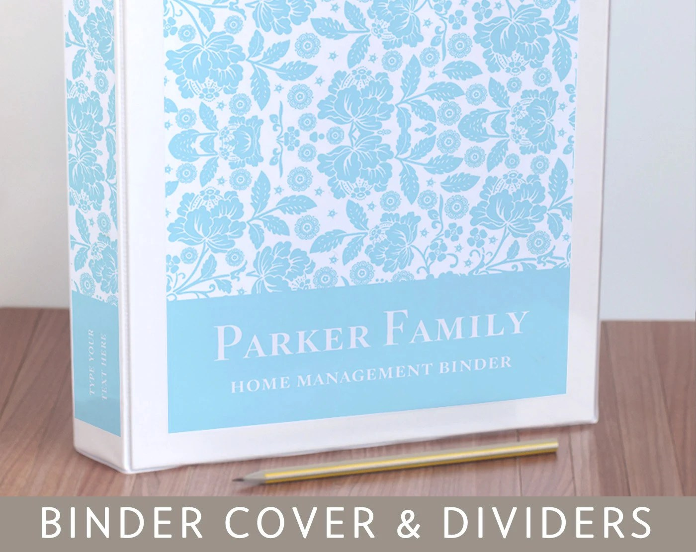 Binder Cover Spine Inserts and Tabbed Dividers in Floral
