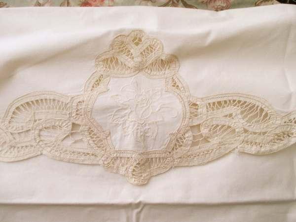 Shabby Chic Cream Cotton Pillow Sham Large Battenburg Lace