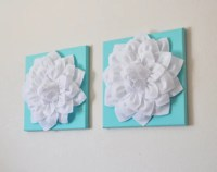 TWO 3D Flower Wall Canvases -White Flower on Aqua 12 x 12 ...