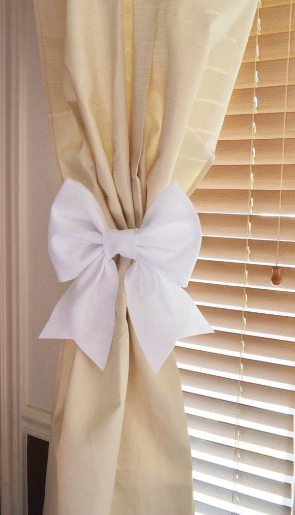 White Bow Curtain Tie Backs. Two Decorative Tiebacks