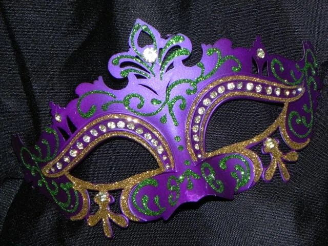 Purple Green And Gold Mardi Gras Mask With Rhinestone Accents