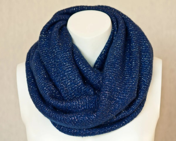 Royal Blue Infinity Scarf Chunky Wool Scarf Jersey Knit by
