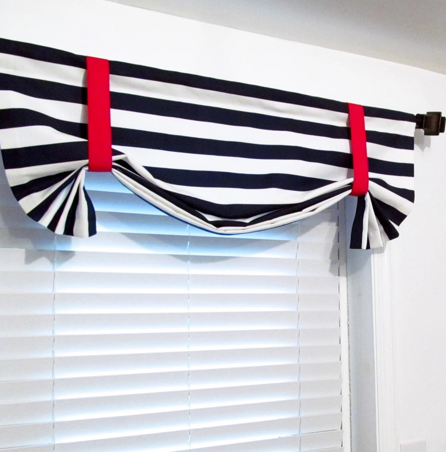 Nautical Tie Up Valance Navy Blue White Red Lined Curtain