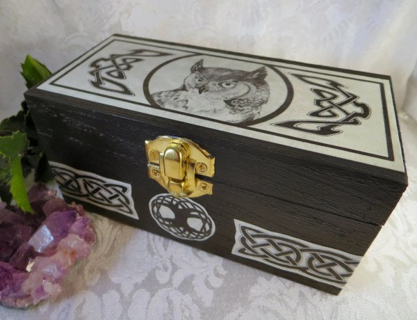 Celtic Owl Box With Knotwork Wooden Jewelry