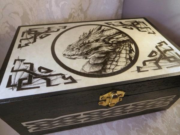 Celtic Dragon Storage Box Wooden Jewelry Ring Pagan