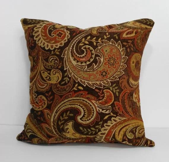 Decorative Chenille Paisley Pillow Cover Brown Gold Orange
