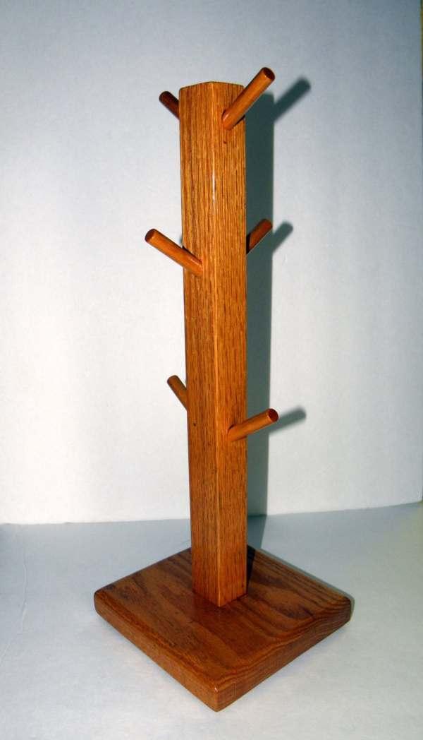 Vintage Coffee Mug Tree Stand 6 Cup Holder Wood Ornament