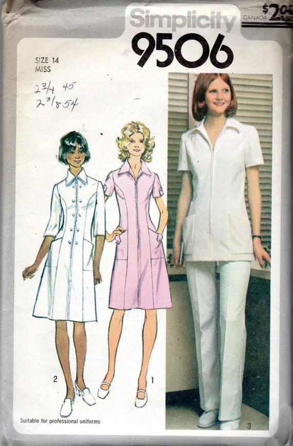 1980s Nurse Uniform Dress Tunic Top  Pants Pattern Size
