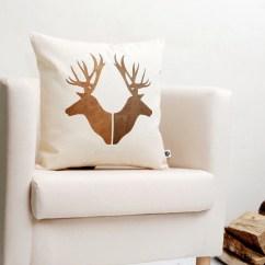 Deer Print Sofa Covers Flexsteel Dylan Power Reclining Gold Couple Pillow Hand Painted Pair Heads Cushion