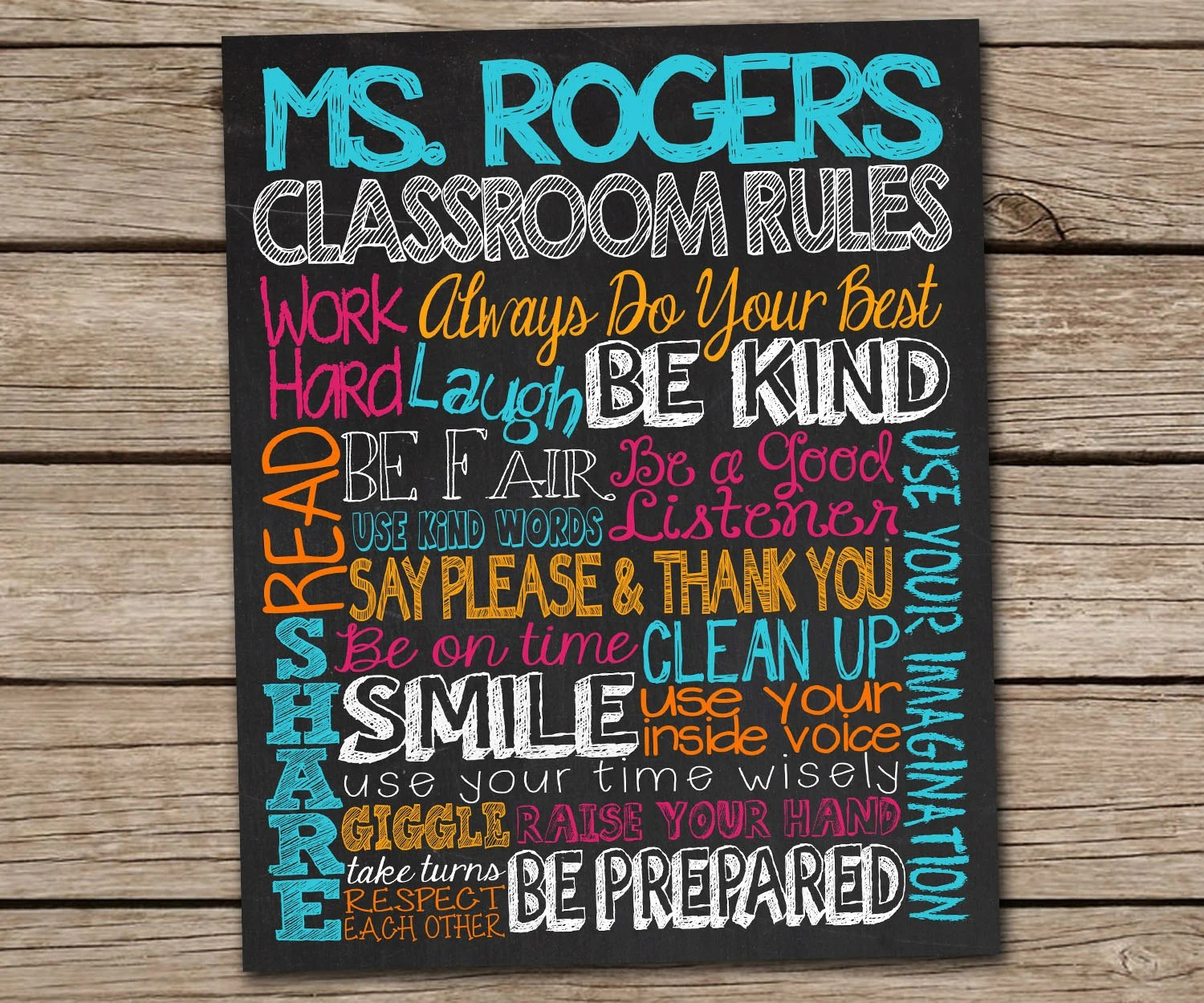 Classroom Rules Sign Personalized Teacher T Customized
