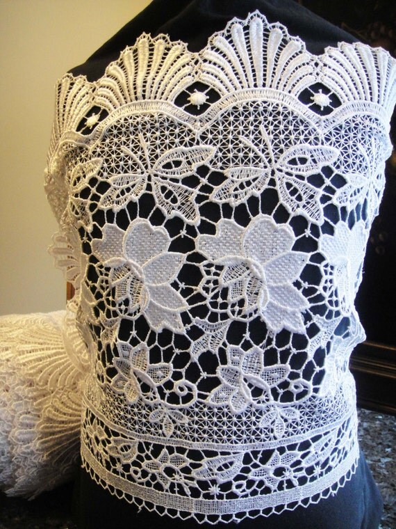 Guipure Lace Bridal Lace White Lace Fabric by Threads2Trends