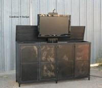 TV Lift Cabinet. Vintage Industrial Style. Modern. Urban.