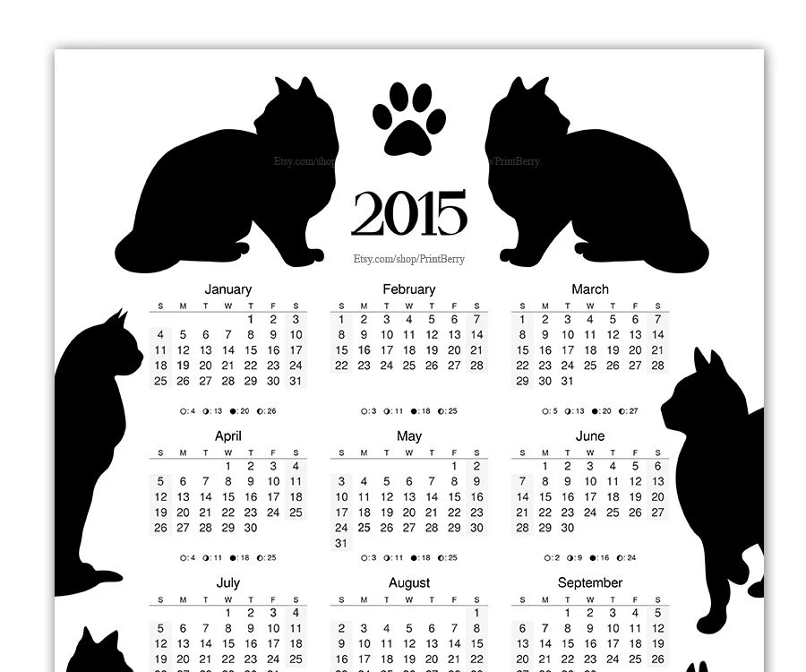 Printable Cat Calendar 2015 Yearly calendar by PrintBerry