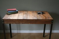 Rustic Reclaimed Wood Desk / Table with Industrial Iron Legs