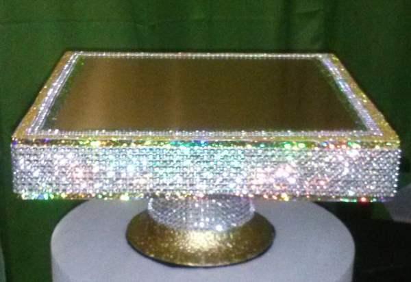 Dazzling Gold Square Cake Stand Pedestal