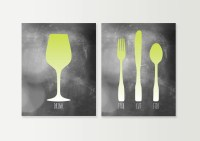 Dining Room Art Fork Knife Spoon Wine Dining by DaphneGraphics