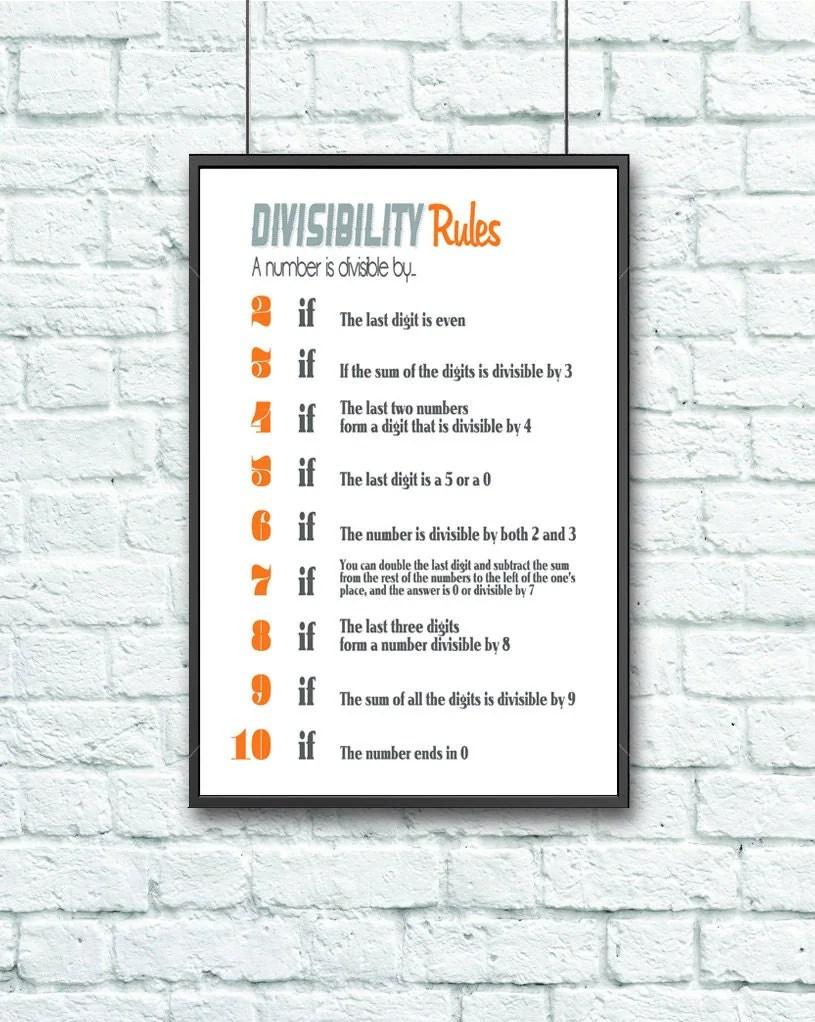 Math Geek Divisibility Rules Teacher Poster 20x30 Orange
