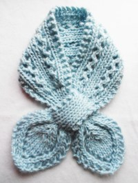 Lace knitted bow tie scarf baby blue 100% wool adult by