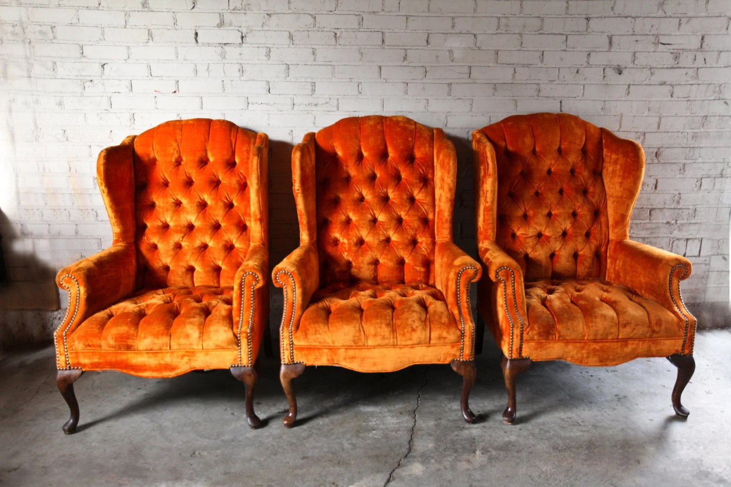 Orange Wingback Chair 3 Vintage Orange Velvet Tufted Wingback Chairs