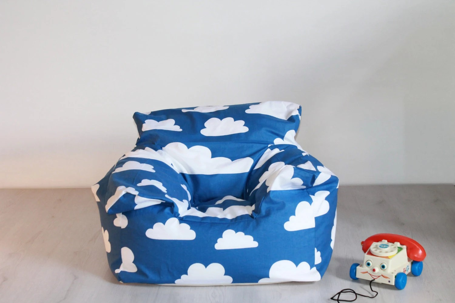 bean bag chairs for boys reclining office with footrest filled swedish blue clouds funky chair and