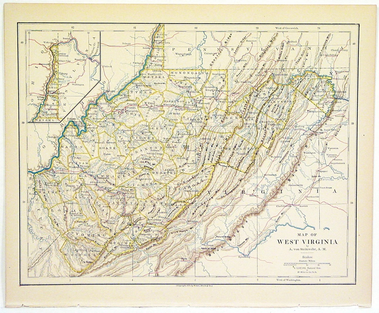 Original Color Atlas Map Of The State Of West Virginia By