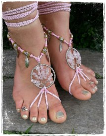 Tree Of Life Barefoot Sandals. Roses Quartz. Wedding