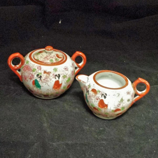 Vintage Sugar Bowl And Creamer Set Hand Painted