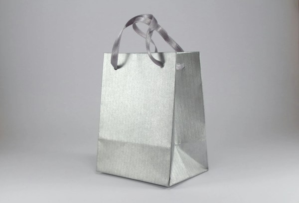 10 Paper Gift Bags with Handles Extra Small Silver Paper