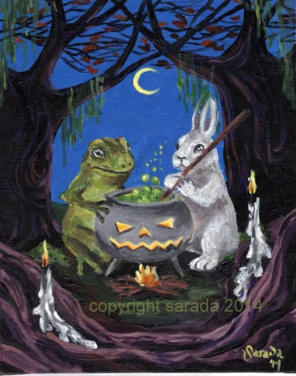 Halloween Painting Original 8 X 10 Gothic Art Dark Hollow