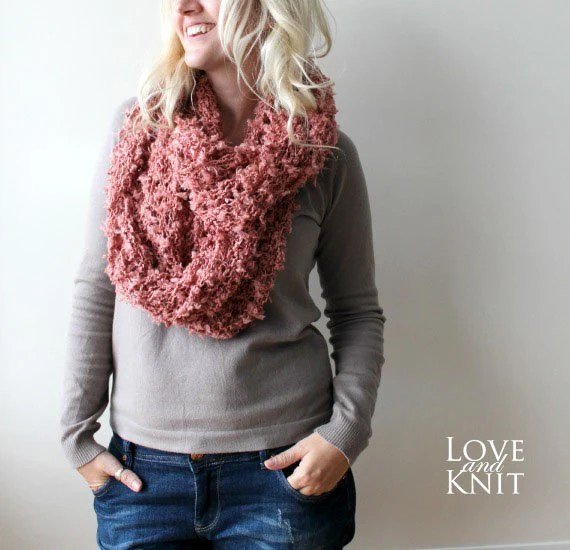 Womens Circle Scarf - Coral- Winter Accessories - LoveandKnit