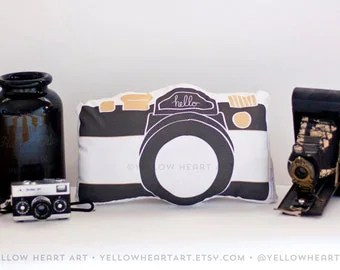 40.00 USD Camera Pillow in Black, White and Gold by Yellow Heart Art