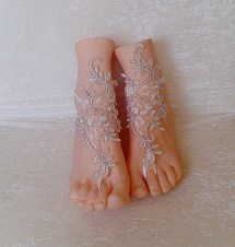 Free Ship Ivory Silver Cord Wedding Barefoot Sandles