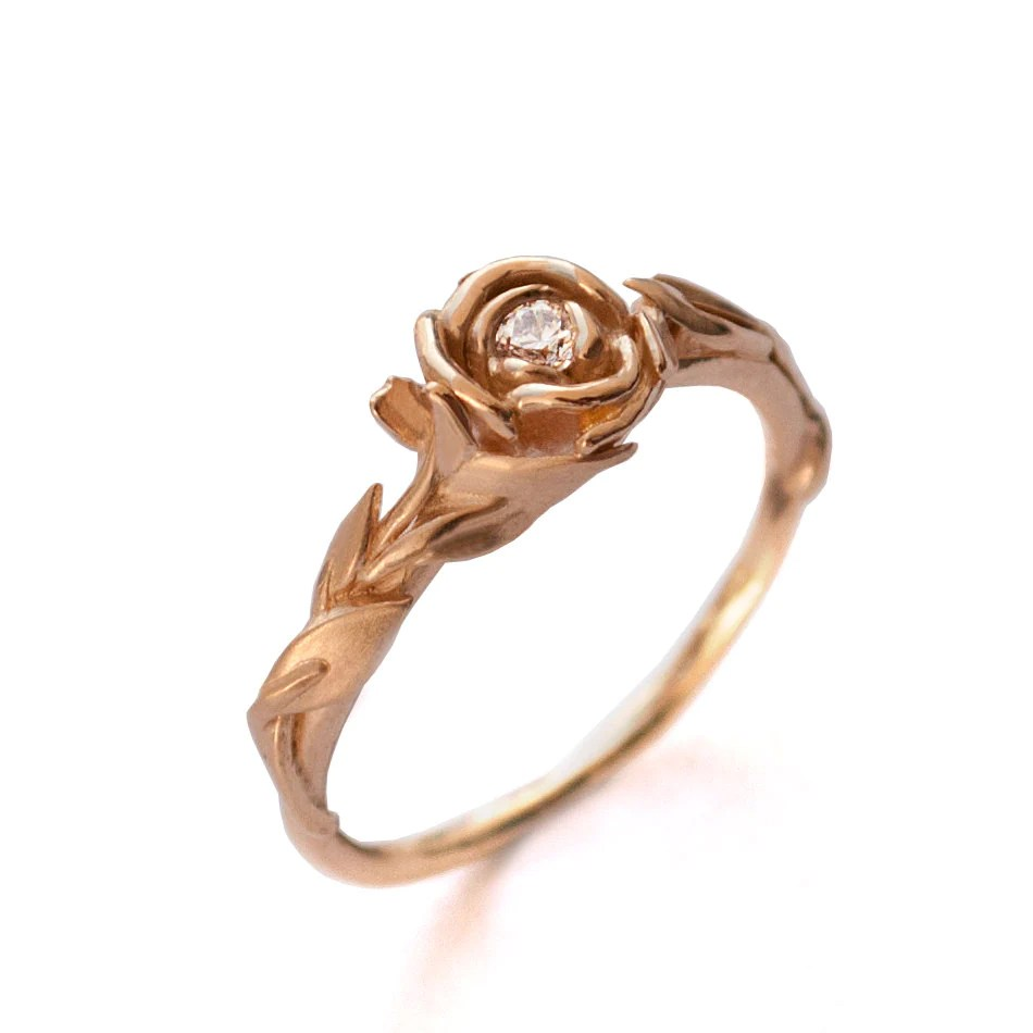 Rose Engagement Ring No.2 18K Rose Gold and Diamond