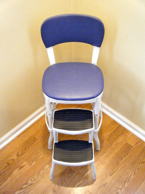 Heavy Duty Original Cosco Chair Step Stool Blue  White Retro