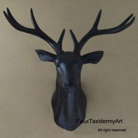 Large Black Faux Deer Head wall decor wall hanging faux by ...