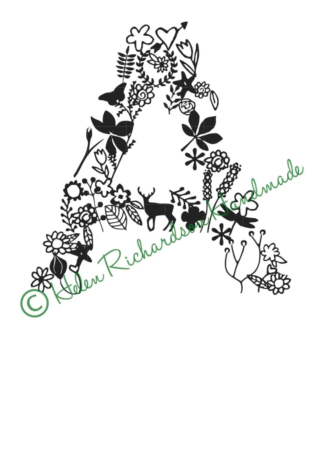 Floral Alphabet letter A paper cutting template for PERSONAL