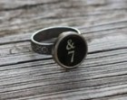 Typewriter Key Oak Leaf Ring Number Seven