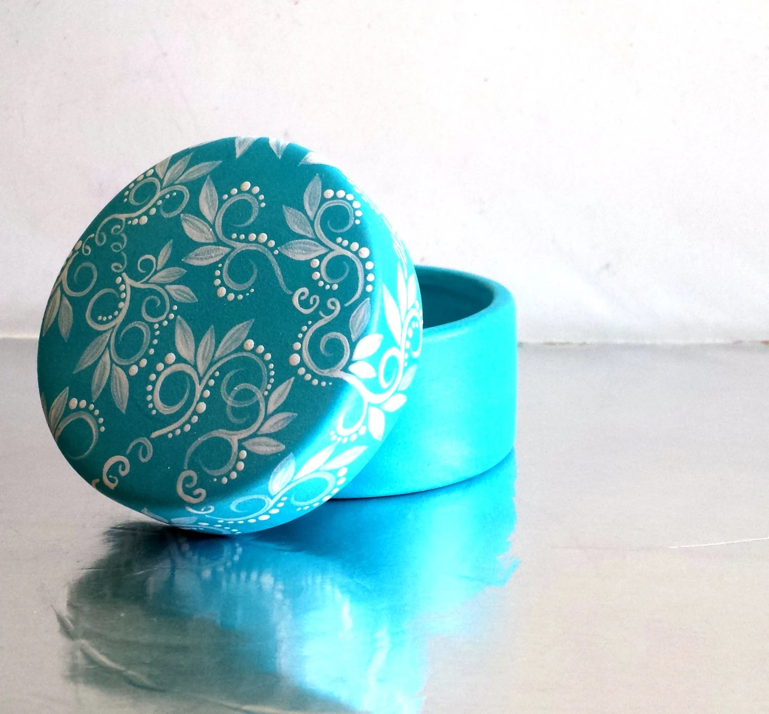 Winter Blue Trinket Box: Hand painted ceramic box - PearlesPainting