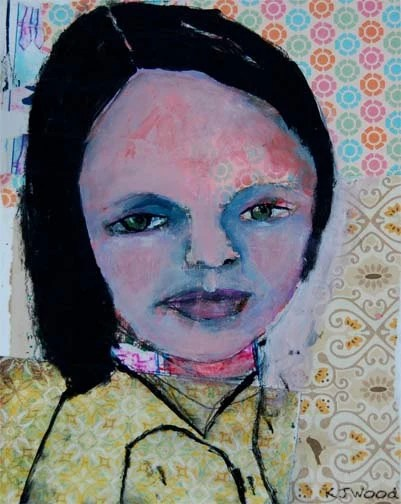 Acrylic Portrait Painting Collage 8x10 Canvas Panel, Kourtney, Original, Mixed Media, Girl, Yellow, Pink, Orange, Blue