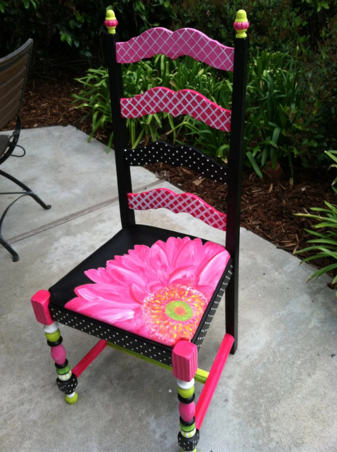 Items similar to Hand Painted Gerbera Daisy Chair buy one