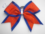 cheer bow orange blue & white competition