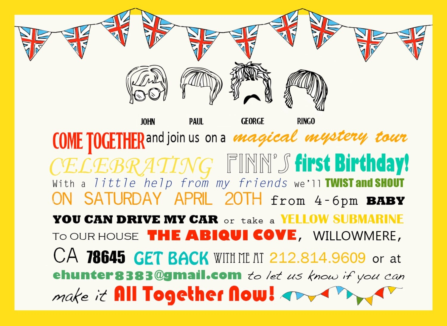 Beatles Party Suite Invites Cake Toppers Activity Sheet And